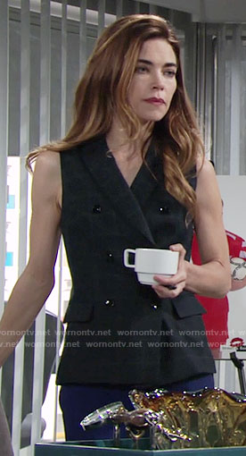 Victoria's double breasted vest on The Young and the Restless