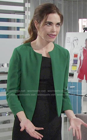 Victoria's kelly green jacket on The Young and the Restless