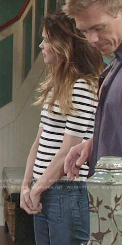 Victoria's breton stripe top and flared jeans on The Young and the Restless