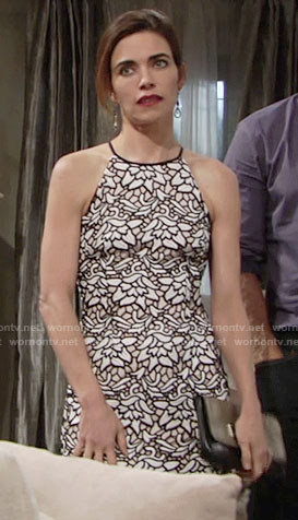 Victoria's black and white floral lace dress on The Young and the Restless