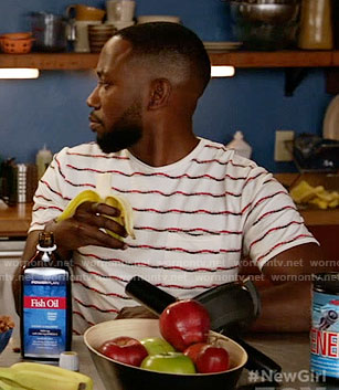 Winston's wave striped tee on New Girl