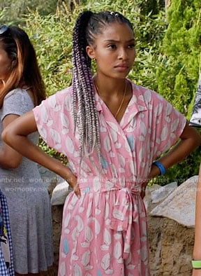 Zoey's pink printed romper on Black-ish