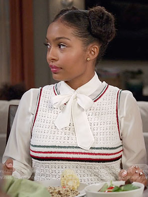 Zoey's striped crochet top and white blouse on Black-ish