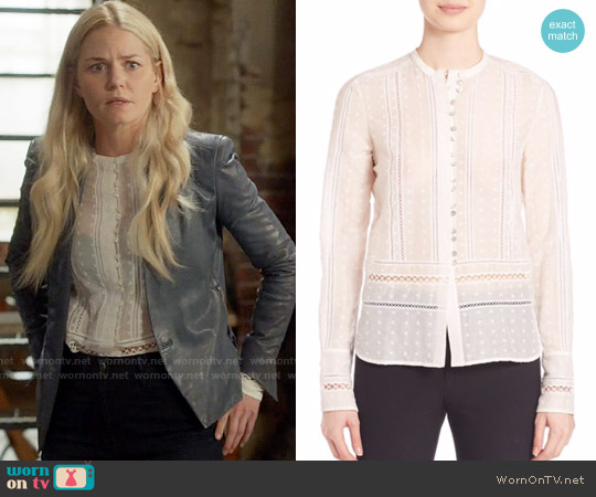 10 Crosby by Derek Lam Embroidered Silk Blend Top worn by Jennifer Morrison on OUAT