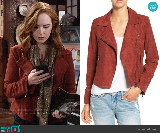 ASTR Faux Suede Moto Jacket in Rusted Tan worn by Mariah Copeland (Camryn Grimes) on The Young & the Restless