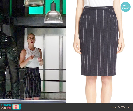 ATM Anthony Thomas Melillo Striped Pencil Skirt worn by Emily Bett Rickards on Arrow
