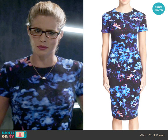Alexander McQueen Floral Print Body-con Dress worn by Emily Bett Rickards on The Flash