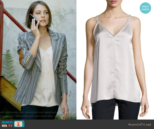 Anthony Thomas Melillo Fringe-Trimmed Satin Cami Top worn by Thea Queen on Arrow