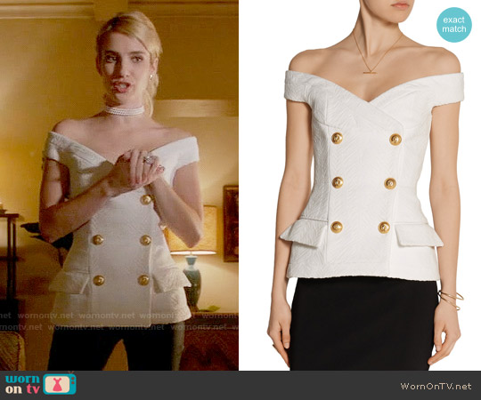 Balmain Off-the-shoulder jacquard top worn by Chanel Oberlin (Emma Roberts) on Scream Queens