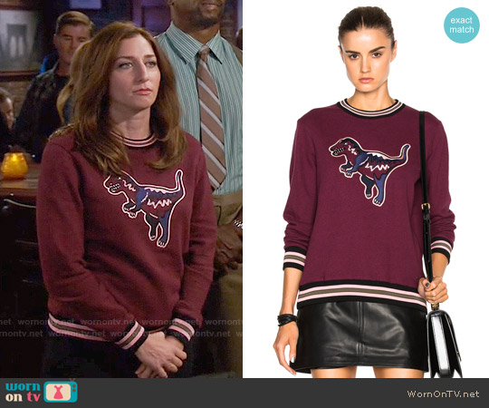 Coach 1941 Varsity T-Rex Sweater worn by Chelsea Peretti on Brooklyn Nine-Nine