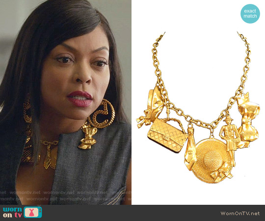 Chanel Gold Plated Charm Necklace w/6 Charms worn by Taraji P. Henson on Empire