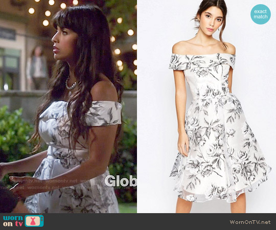 Chi Chi London Off Shoulder Midi Dress in Organza worn by Jameela Jamil on The Good Place