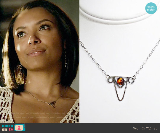 CleverKimsCurios Amber Sterling Silver Triangle Necklace worn by Kat Graham on The Vampire Diaries