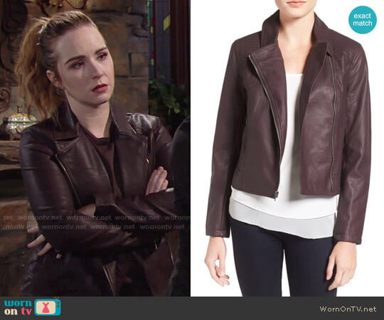 Cupcakes and Cashmere 'Joslyn' Faux Leather Moto Jacket in Oxblood worn by Camryn Grimes on The Young & the Restless
