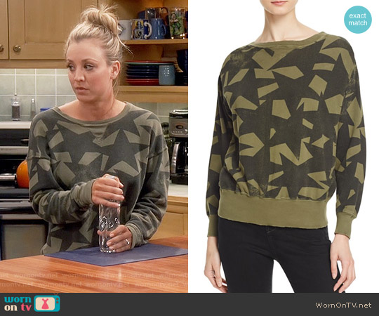 Current/Elliott The Collegiate Star Print Sweatshirt worn by Kaley Cuoco on The Big Bang Theory