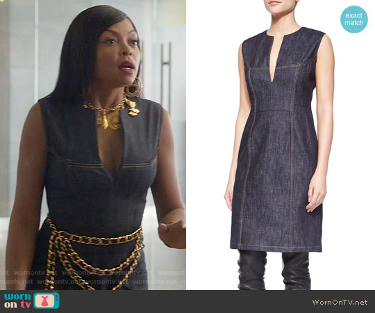 Derek Lam  Denim Split-Neck Sheath Dress worn by Taraji P. Henson on Empire