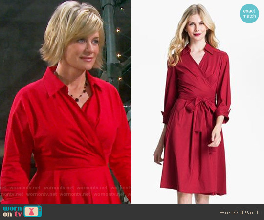 Donna Ricco Collared Fit & Flare Wrap Dress worn by Mary Beth Evans on Days of our Lives