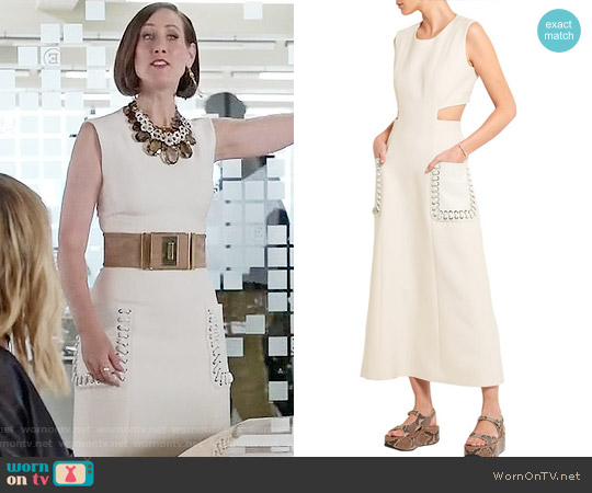 Fendi Cutout leather-paneled wool and silk-blend gazar midi dress worn by Miriam Shor on Younger