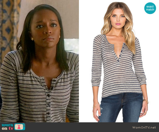 Frame Denim Le Henley Raglan Tee in Navy Stripe worn by Aja Naomi King on HTGAWM