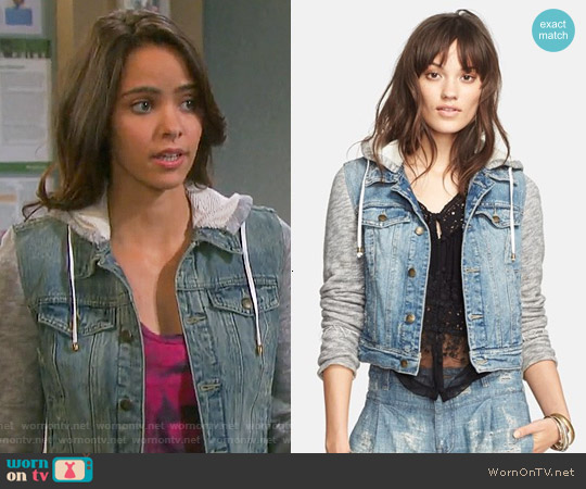 Free People Denim & Knit Jacket worn by Ciara Brady (Victoria Konefal) on Days of our Lives