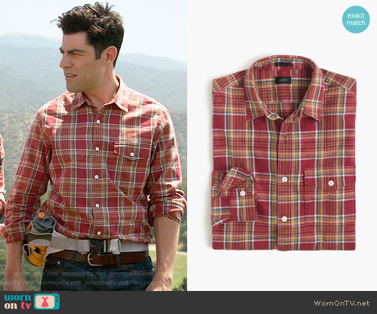 J. Crew Heathered Slub Cotton Shirt in Red Plaid worn by Max Greenfield on New Girl