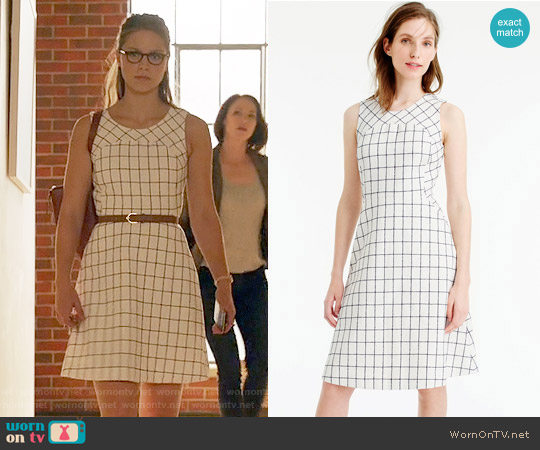 J. Crew Sleeveless A-Line Dress in Windowpane Tweed worn by Melissa Benoist on Supergirl