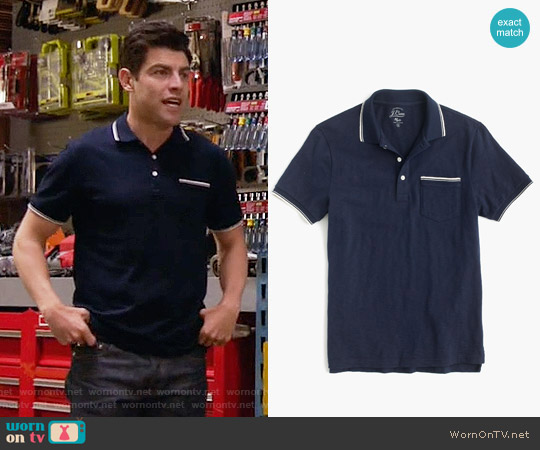 J. Crew Textured Cotton Tipped Polo Shirt worn by Max Greenfield on New Girl