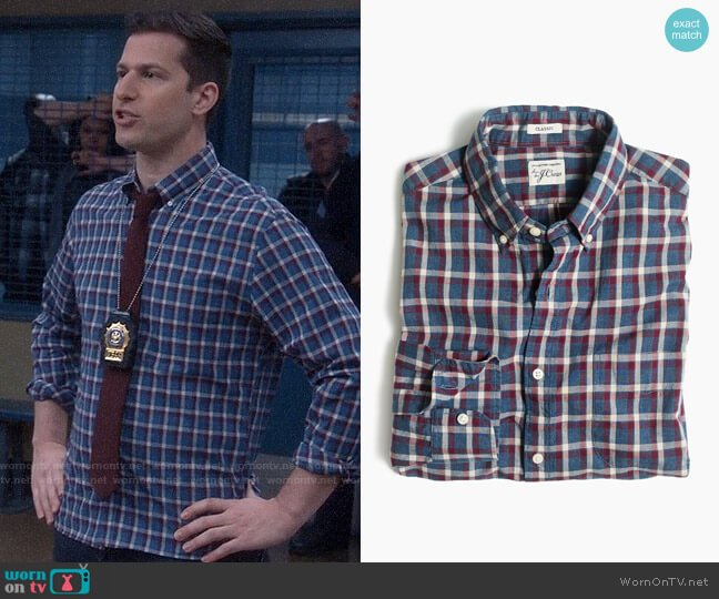 J. Crew Secret Wash Shirt in Heather Poplin Plaid in Hthr Blue worn by Jake Peralta (Andy Samberg) on Brooklyn Nine-Nine