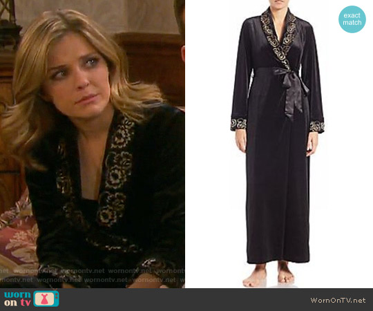 Jonquil Lace-Trimmed Velvet Robe worn by Jen Lilley on Days of our Lives