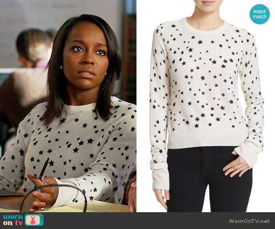 Kate Moss for Equipiment Ryder Star Print Sweater worn by Aja Naomi King on HTGAWM