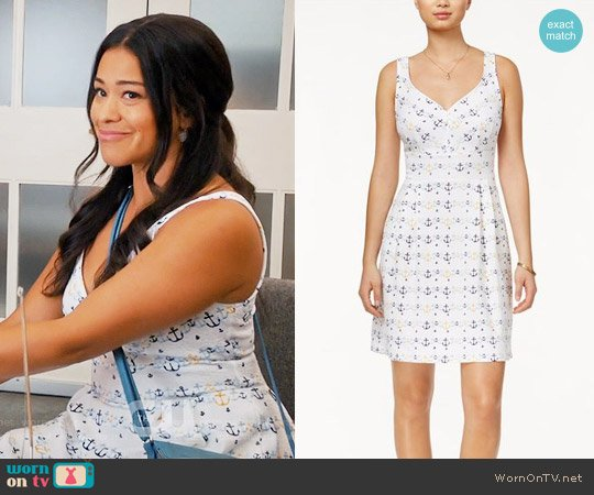 Maison Jules Anchor-Print Fit & Flare Dress worn by Jane Villanueva (Gina Rodriguez) on Jane the Virgin