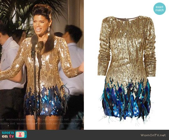 Matthew Williamson Sequin and feather hand-woven dress worn by Xiomara Villanueva (Andrea Navedo) on Jane the Virgin