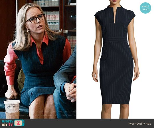 Max Mara Doppio-Pinstriped Split-Neck Sheath Dress worn by Elizabeth McCord (Téa Leoni) on Madam Secretary