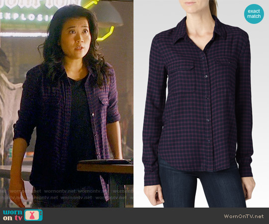 Paige 'Trudy' Shirt in Kinsley Velvet Plum / Dark Shadow worn by Jadyn Wong on Scorpion