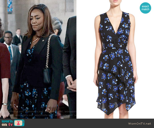 Proenza Schouler Asymmetrical Floral Print Wrap Dress worn by Patina Miller on Madam Secretary