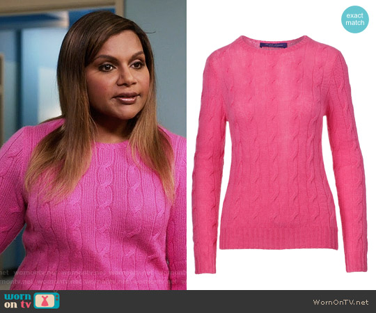 Ralph Lauren Cable-knit Cashmere Sweater in Lux Bright Pink worn by Mindy Lahiri (Mindy Kaling) on The Mindy Project