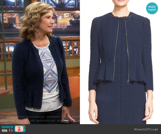 Rebecca Taylor Zip Front Bouclé Tweed Jacket worn by Vanessa Baxter on Last Man Standing