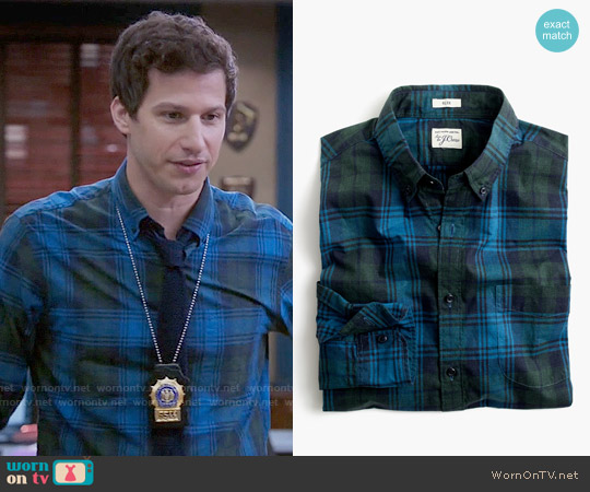 J. Crew Slim Secret Wash Shirt in Heather Poplin Plaid in Hthr Green worn by Jake Peralta (Andy Samberg) on Brooklyn Nine-Nine
