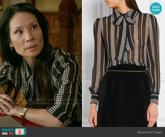 Saint Laurent Pussy-bow printed silk-georgette shirt worn by Lucy Liu on Elementary