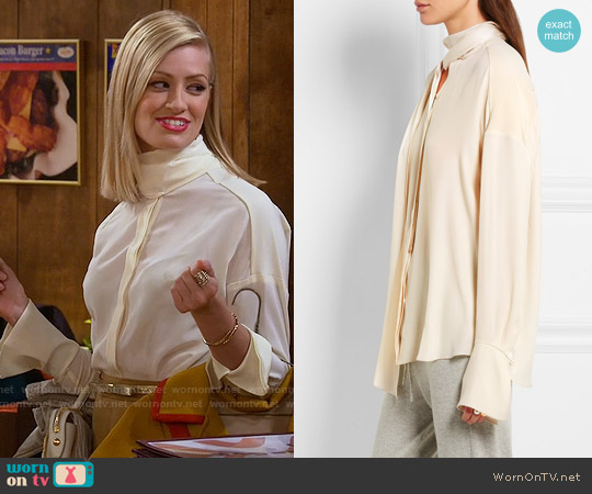 See by Chloe Satin-trimmed Silk Crepe de Chine Blouse worn by Caroline Channing on 2 Broke Girls