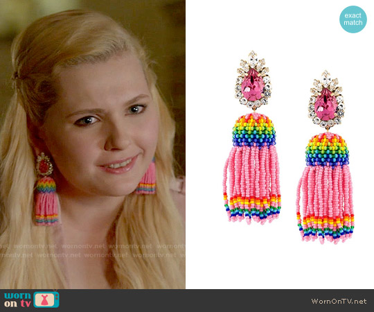 Shourouk Totem Bead Tassel Earrings worn by Abigail Breslin on Scream Queens