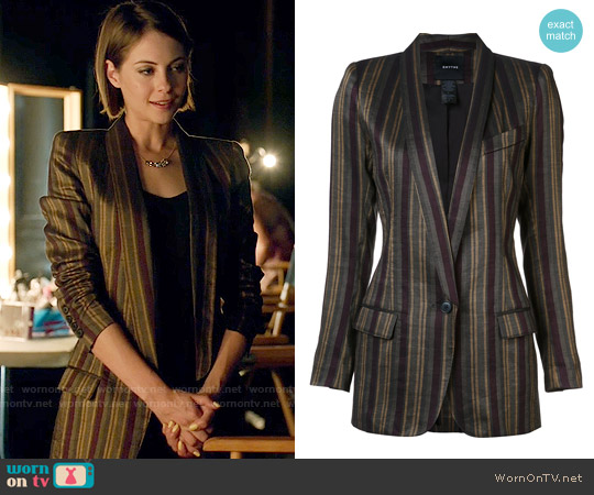 Smythe Shawl Stripe Blazer worn by Thea Queen (Willa Holland) on Arrow