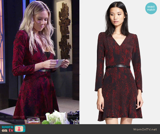 The Kooples Belted Printed Silk Dress worn by Abby Newman (Melissa Ordway) on The Young & the Restless