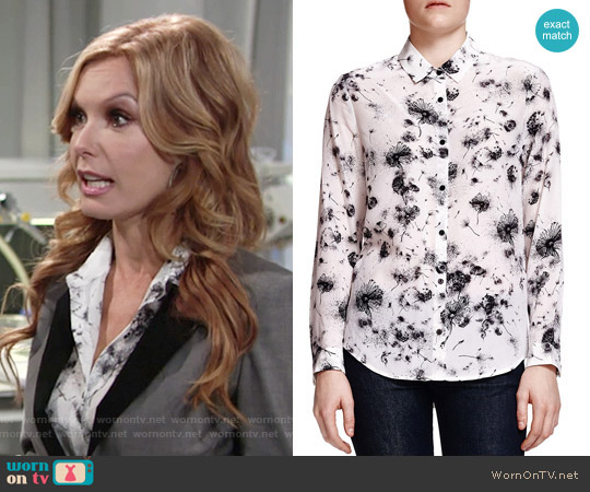 The Kooples Dandelion-Print Silk Blouse worn by Tracey Bregman on The Young & the Restless