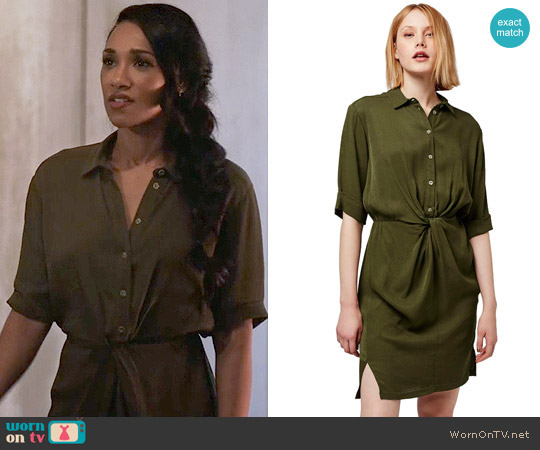 Topshop Twist Front Shirtdress worn by Iris West (Candice Patton) on The Flash
