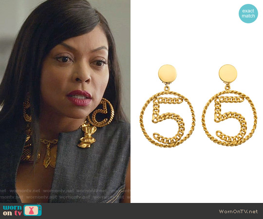 Chanel No.5 Chain Motif Earrings worn by Cookie Lyon on Empire