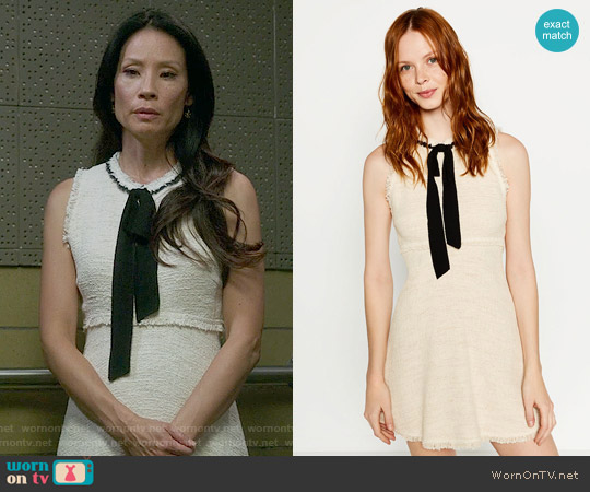 Zara Tweed Dress with Layered Skirt worn by Lucy Liu on Elementary