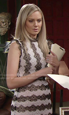 Abby's black and white striped lace dress on The Young and the Restless