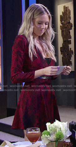 Abby's red animal print dress with long sleeves on The Young and the Restless
