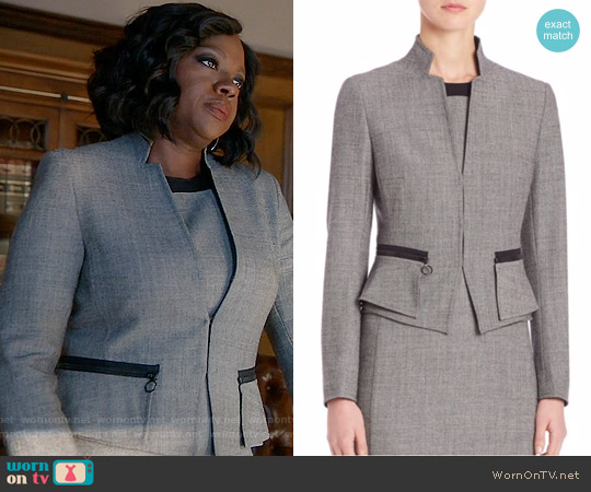 Akris Punto  Wool Peplum Jacket worn by Viola Davis on HTGAWM